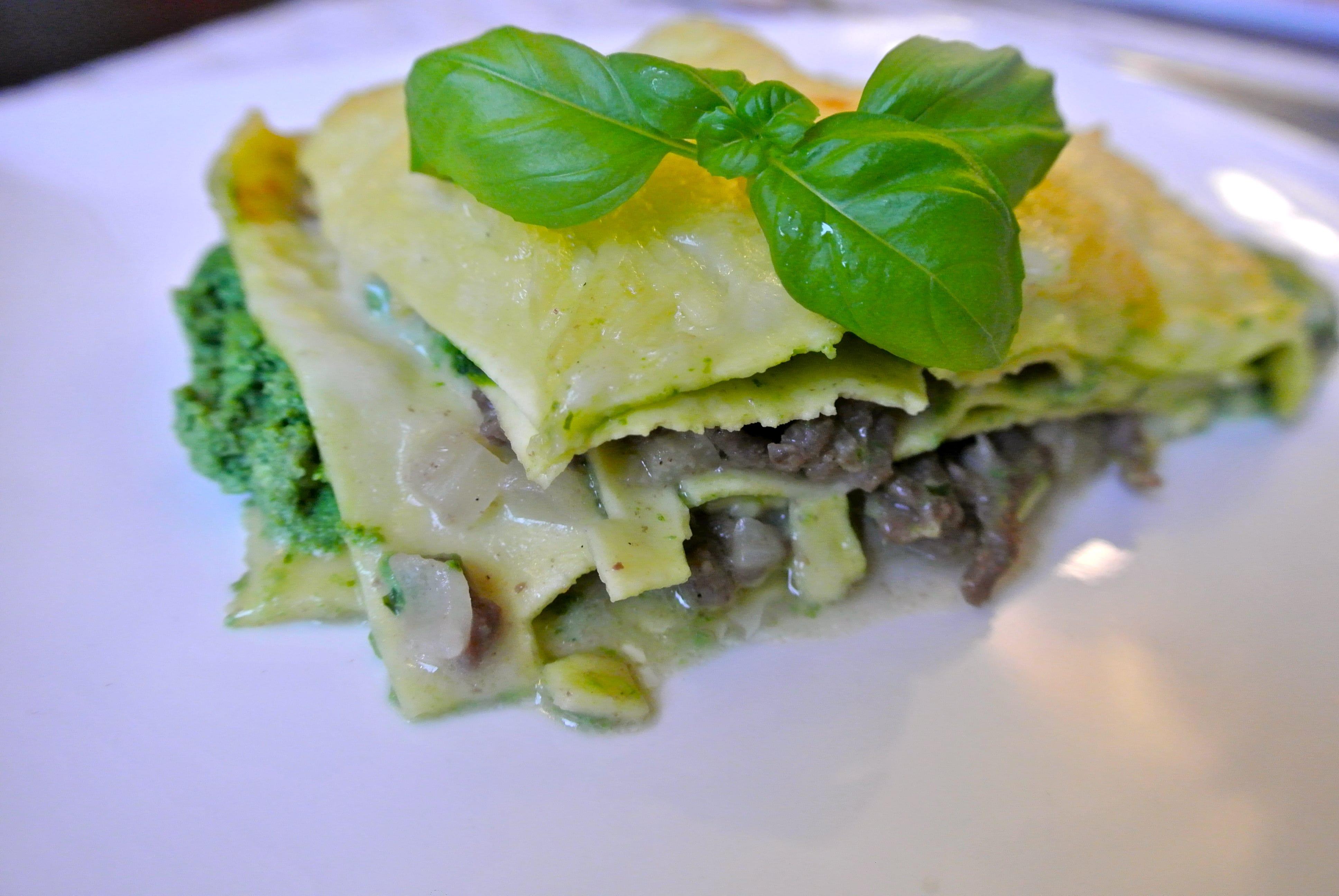 Spinazie-basilicum lasagne