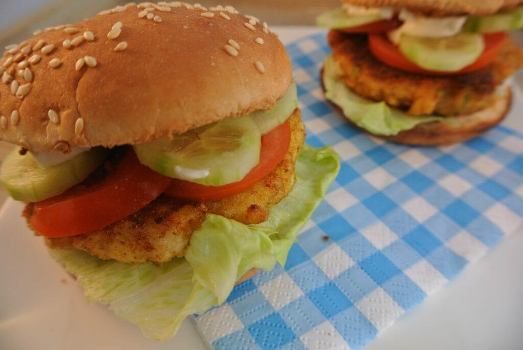 Lekkere zelfgemaakte visburger