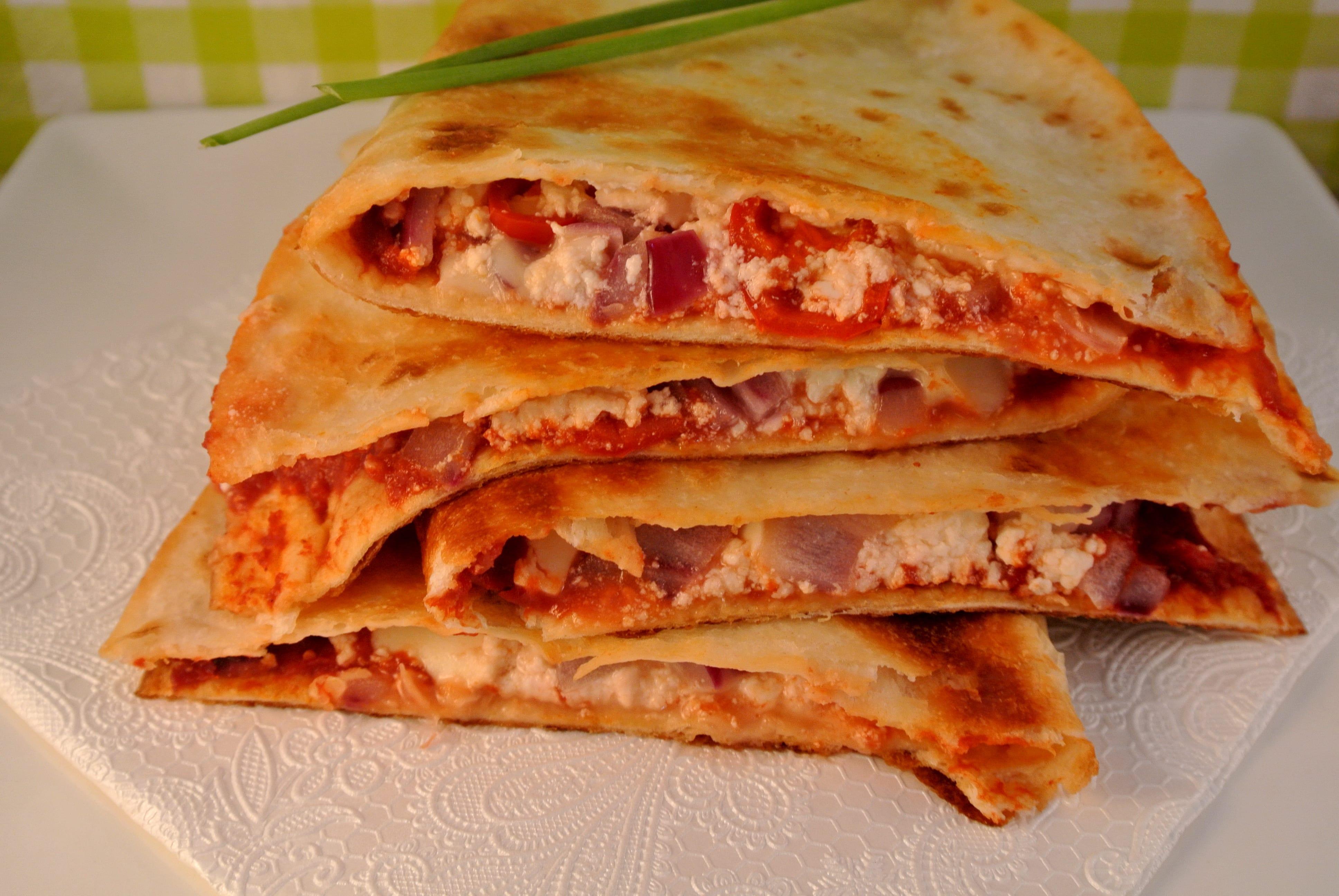 Quesadillas met een Grieks tintje