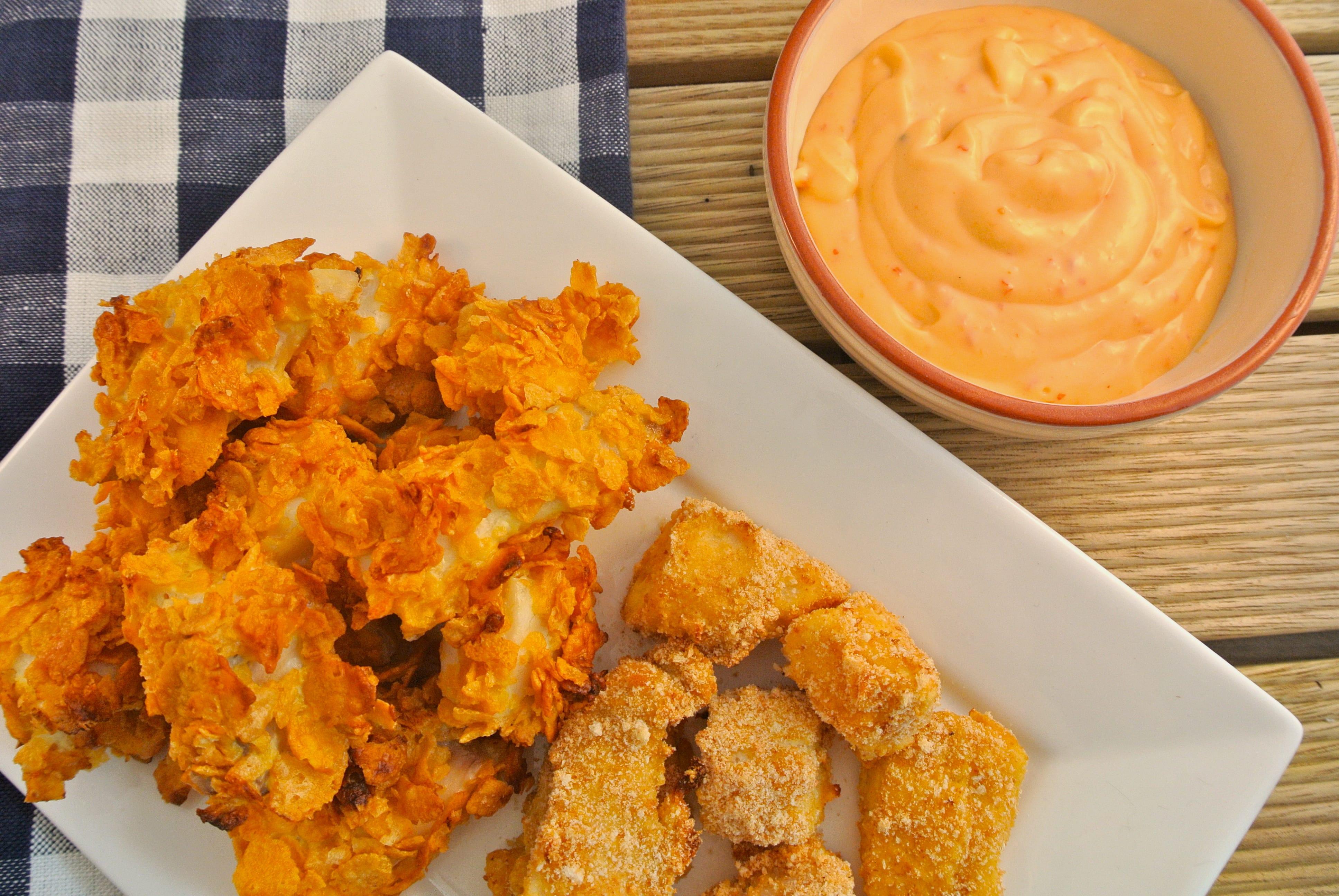 Krokante vis-nuggets uit de oven