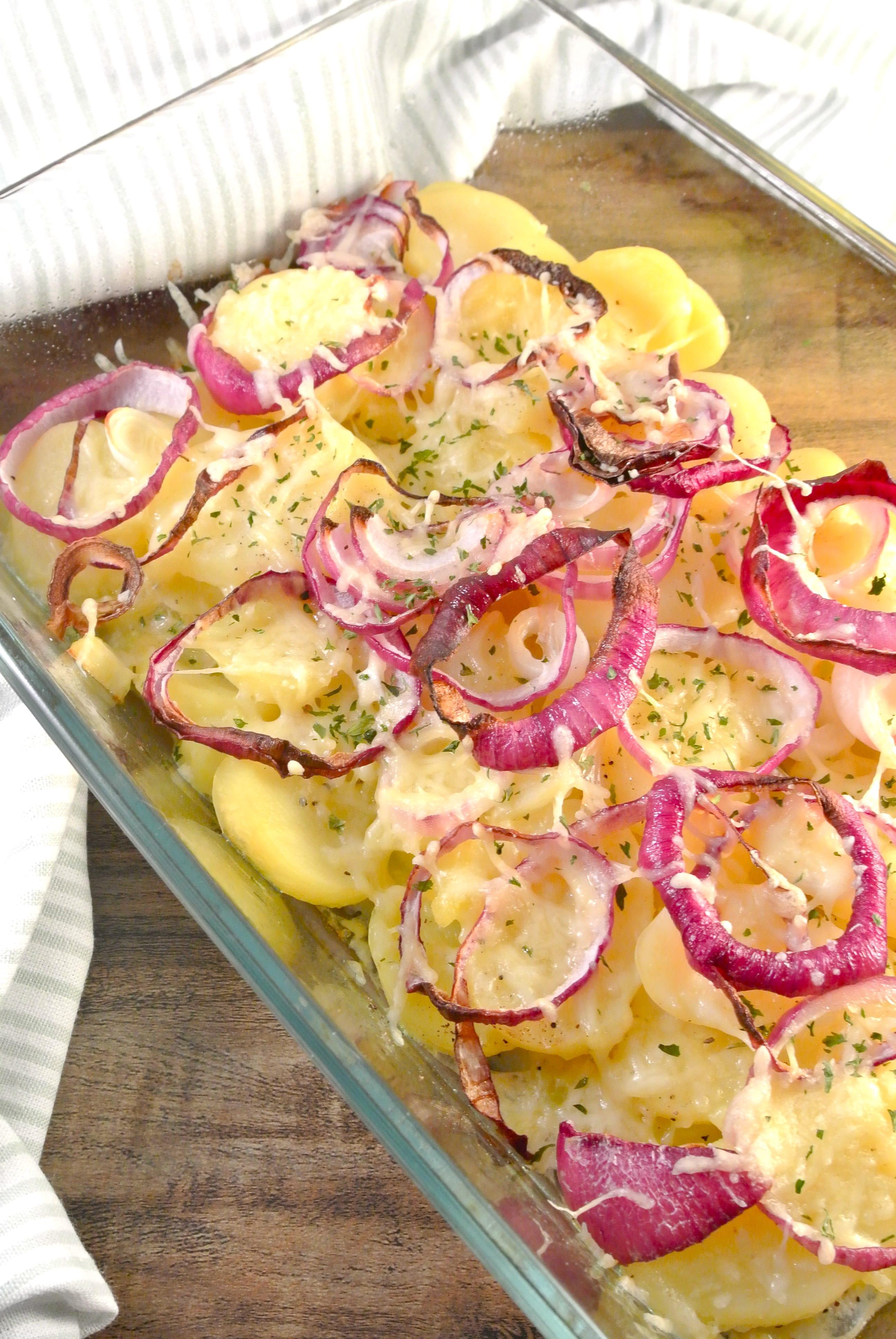 Ovenschotel met aardappel en ui