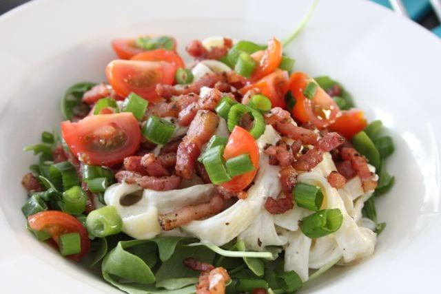 Tagliatelle met boursin en spekjes
