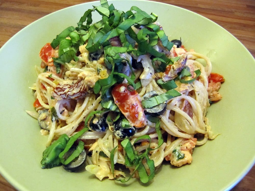 Ingezonden door Karin: spaghetti met zalm en basilicum