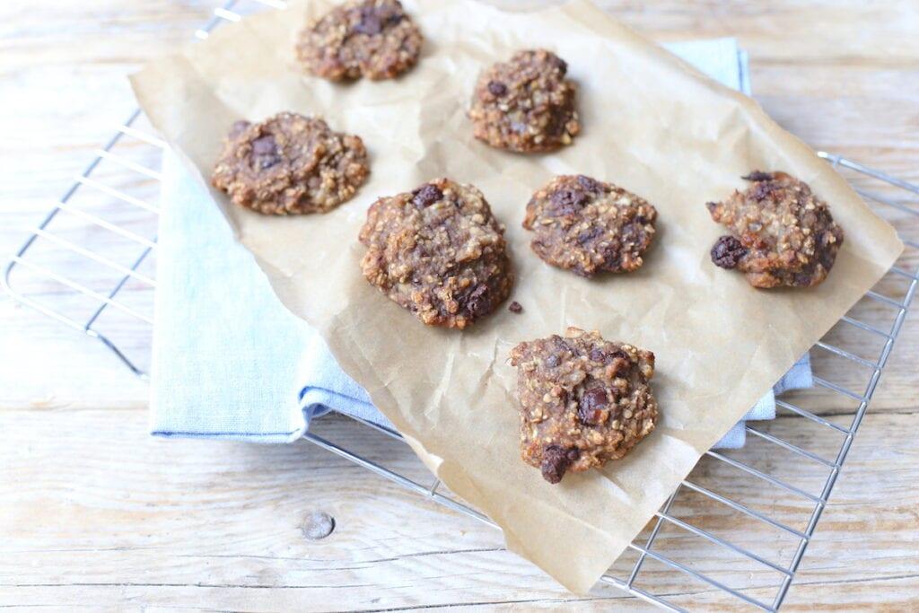 Gezonde koekjes met banaan en chocolade