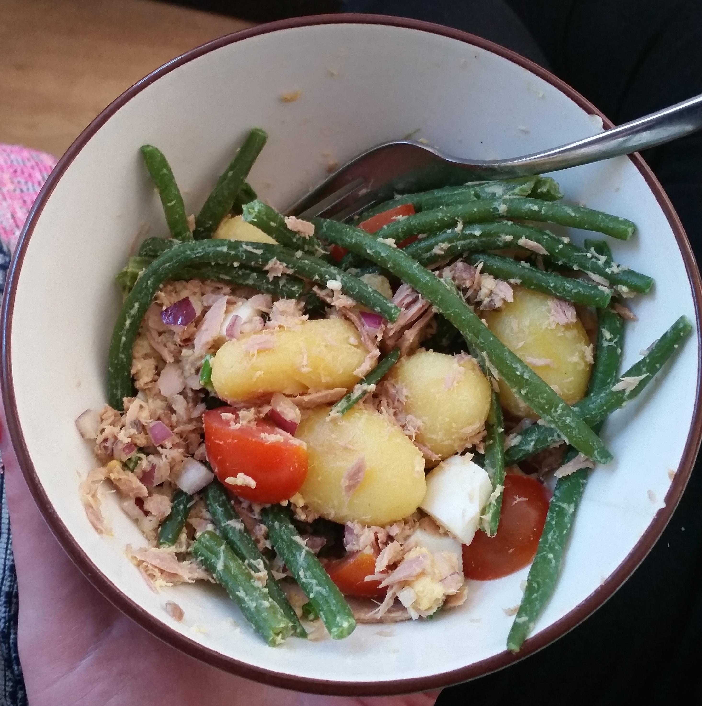 Maaltijdsalade met tonijn en haricots verts