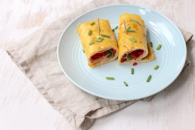 omeletwraps met ham en tomaat