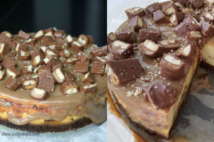 Cheesecake met Twix en karamelsaus