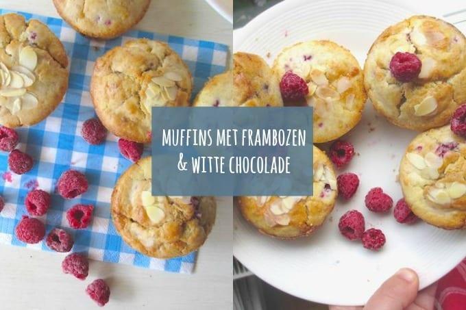 Muffins met frambozen, witte chocolade en kokos