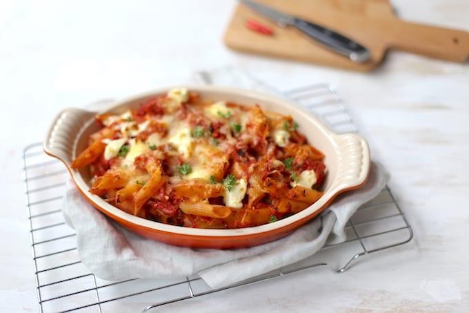 Pasta-ovenschotel met ham
