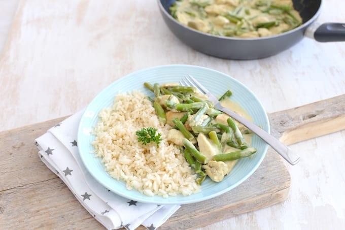 Thaise groene curry met sperziebonen