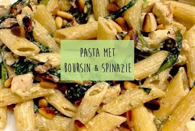 Pasta boursin met spinazie