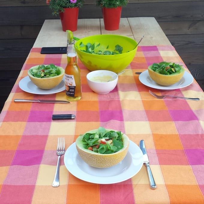 Zomerse salade met meloen