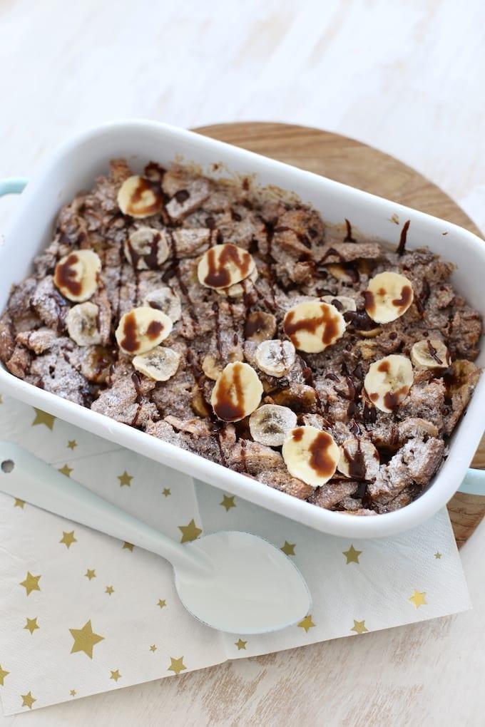Broodpudding met banaan en nutella