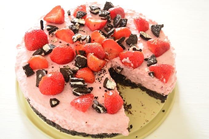 Oreo-aardbeien kwarktaart