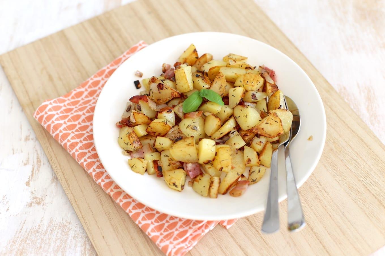 Aardappeltjes met spek en ui