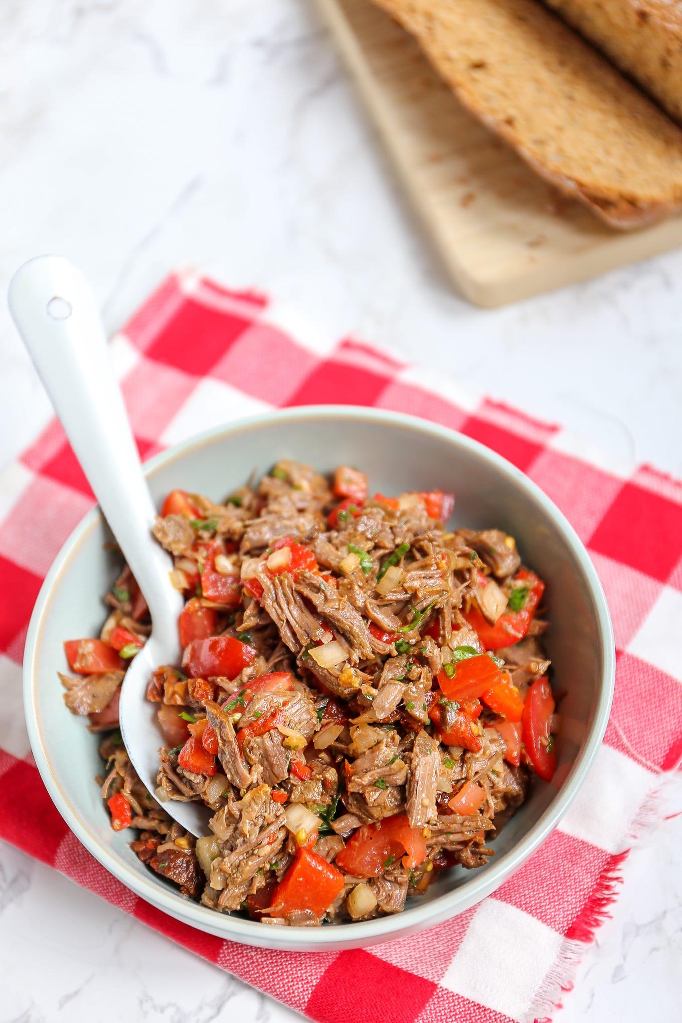 Salade met stoofvlees