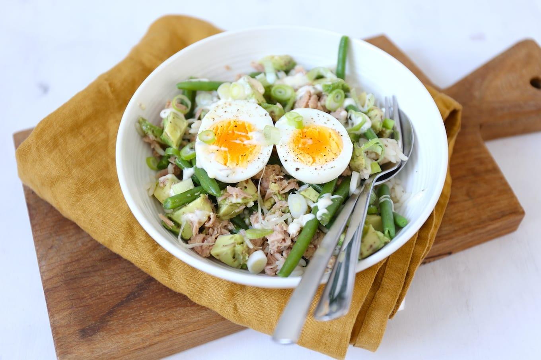 Rijstsalade met tonijn en avocado