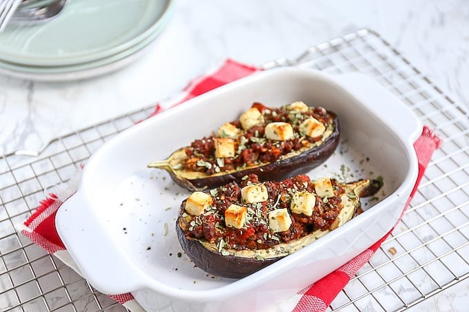 Gevulde aubergine met vega gehakt