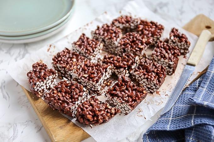 Gepofte rijst snack met chocola