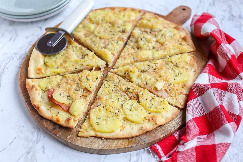 Pizza met aardappel