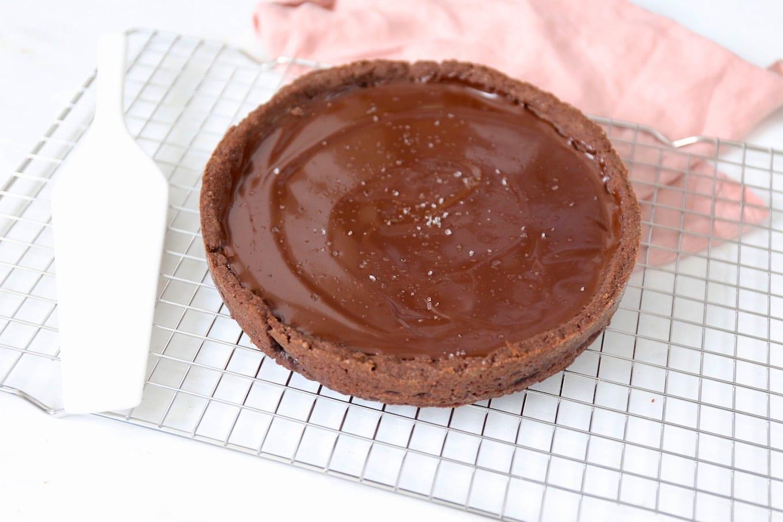 Karameltaart met chocolade ganache