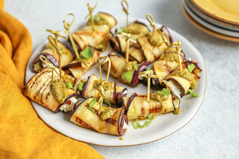 aubergine rolletjes met mozarella