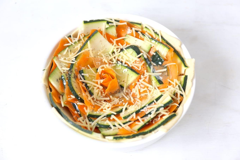 Spiraaltaart met wortel en courgette