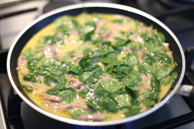 Spinazie omelet met ham