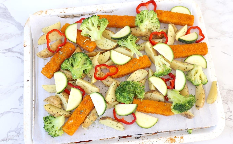 Vissticks uit de oven met groenten