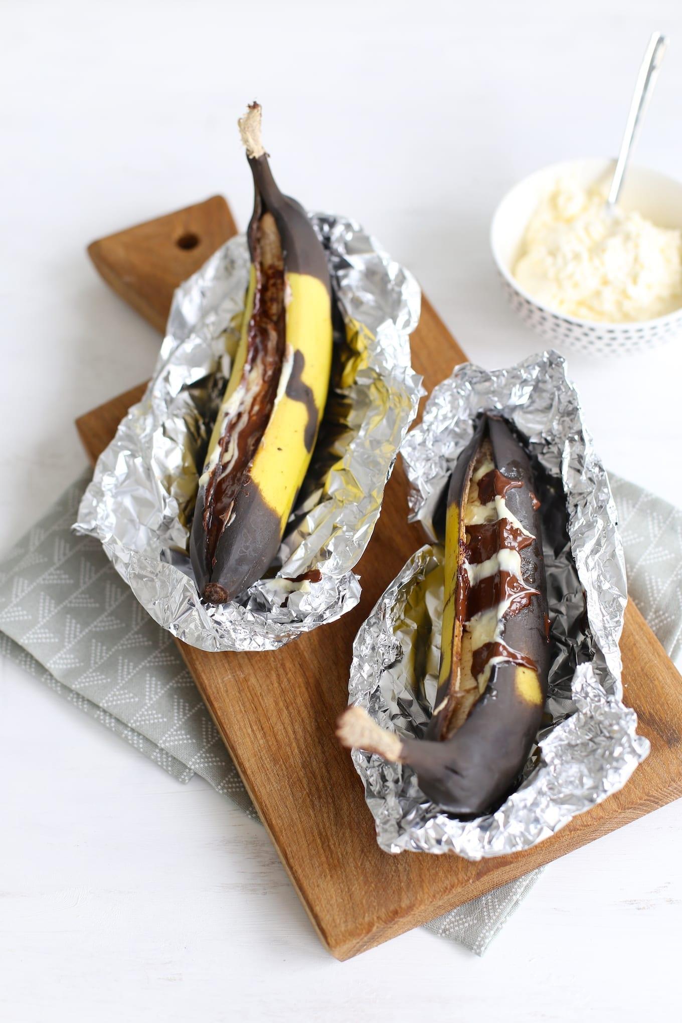 Banaan met chocola uit de oven