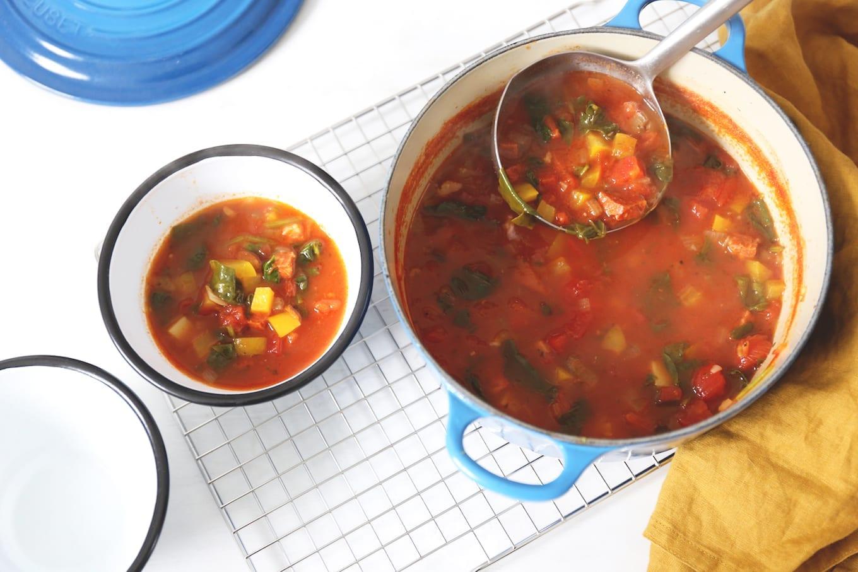 Maaltijdsoep met chorizo en groente