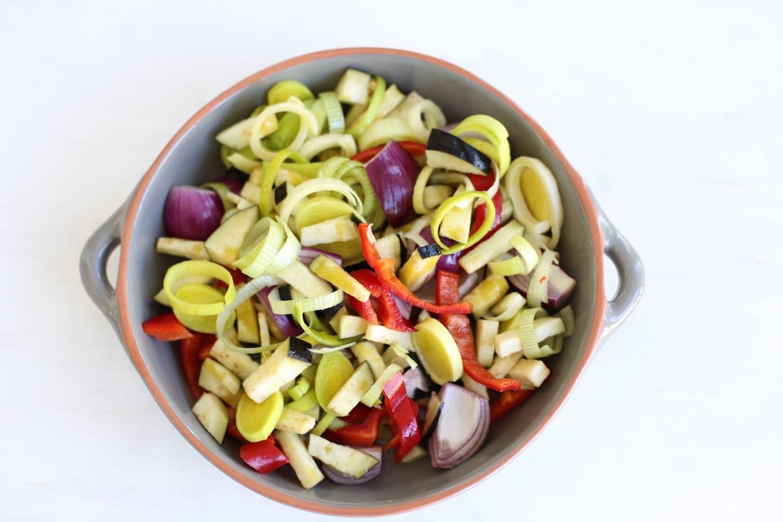 Vegetarische pasta met groenten