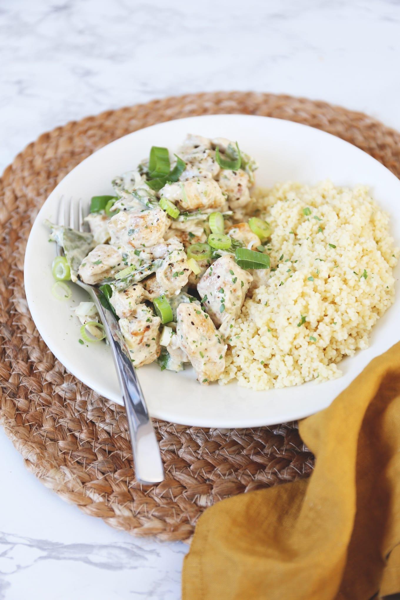 Kip met peultjes en champignons