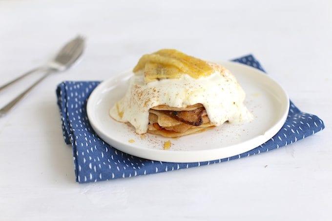 Pancakes met banaan en Griekse yoghurt