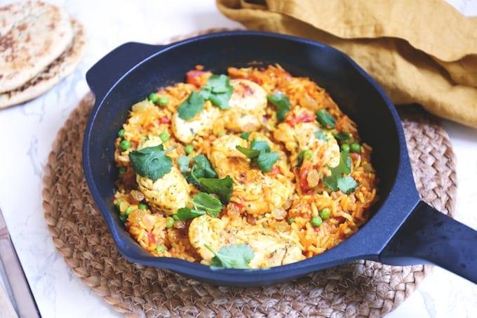 Indiase rijstschotel met kip