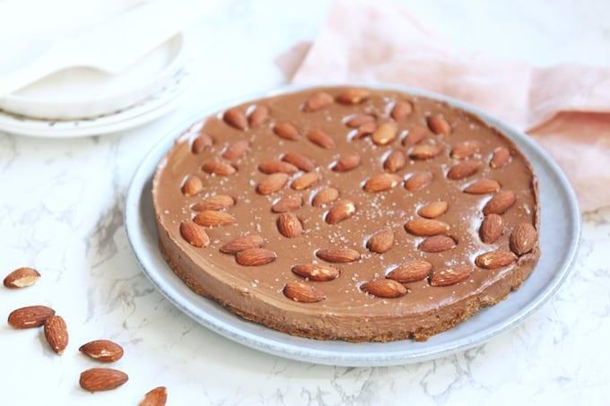Speculaas-chocolade taart met amandelen