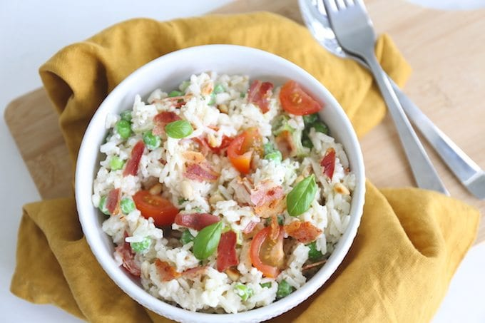 Rijstsalade met spek