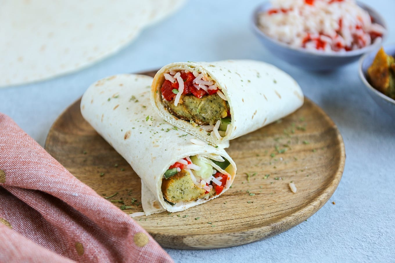 Wrap met falafel en rijst