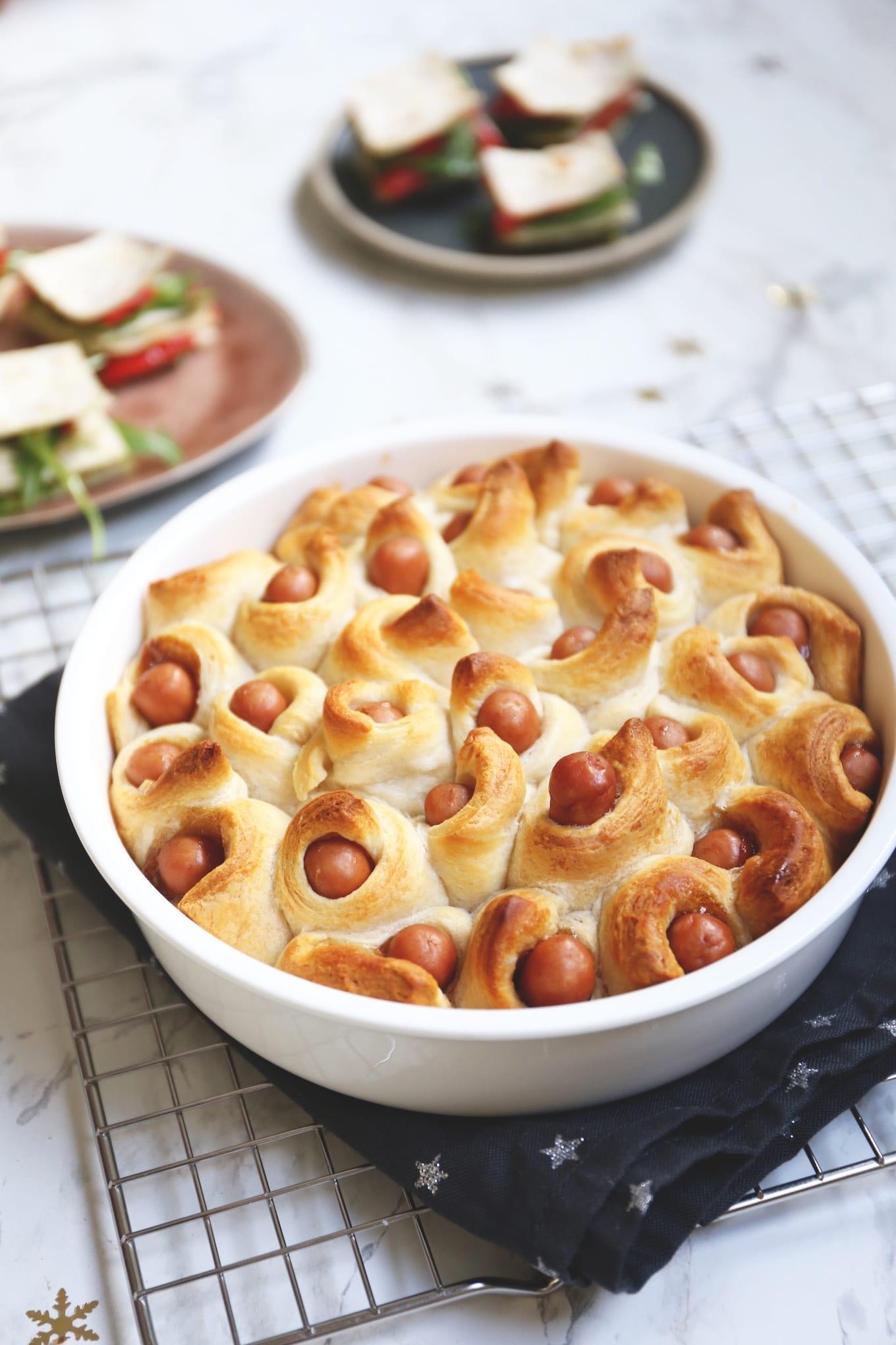 Knakworstjes in croissantdeeg