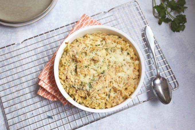 macaroni met ham en prei