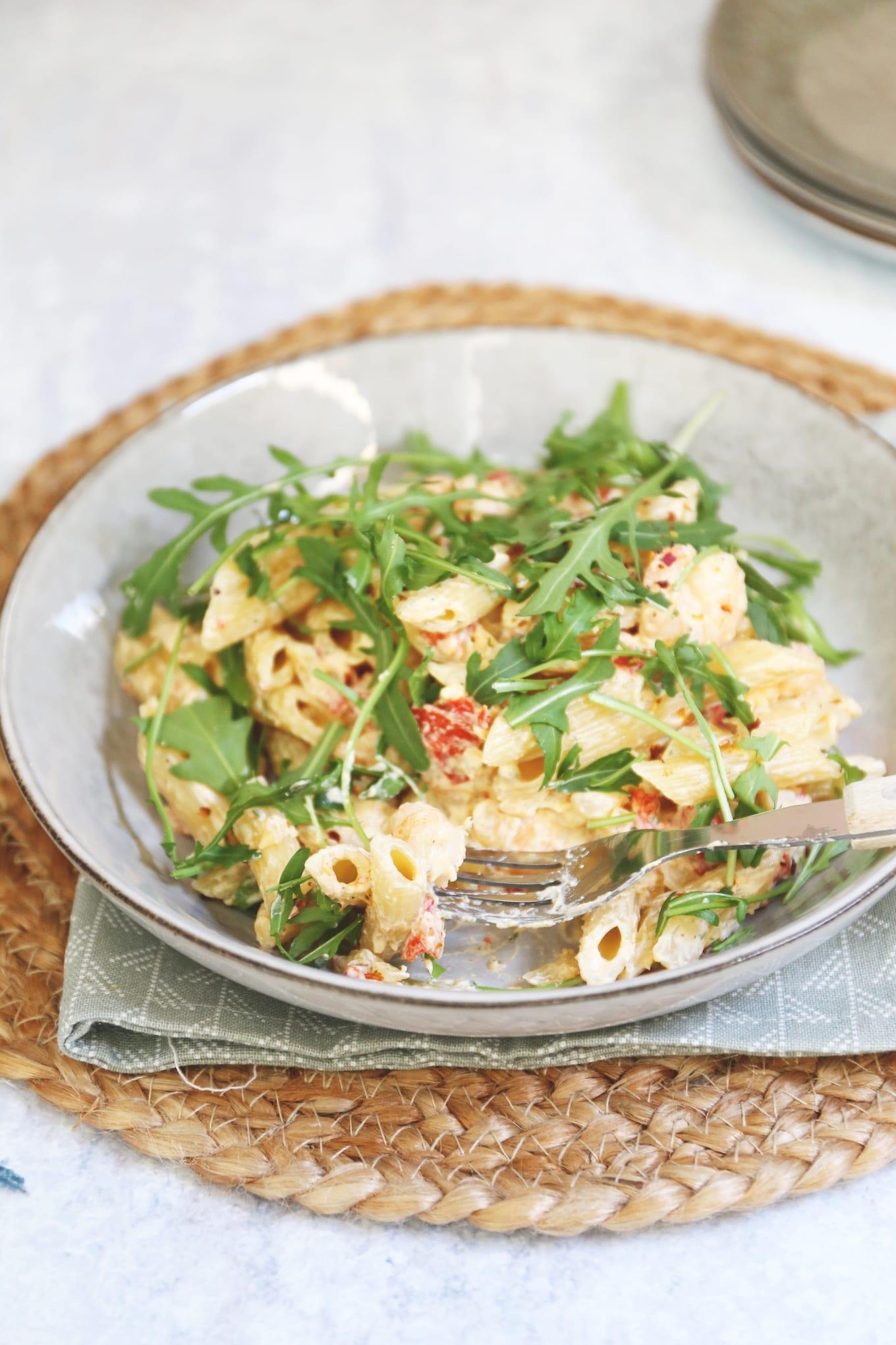 Pasta met garnalen en paprika