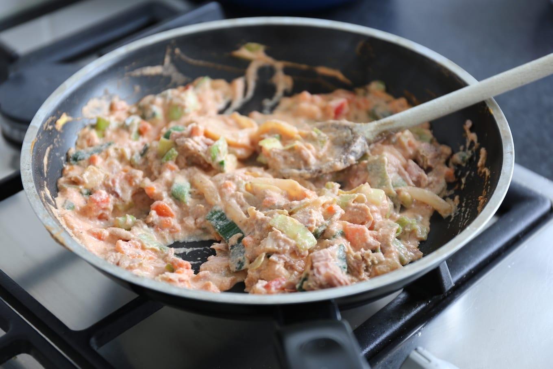Pasta met tonijn en groenten