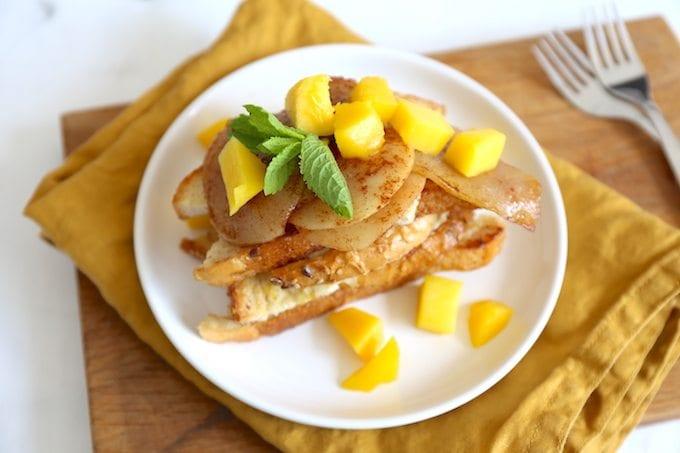 Wentelteefjes met peer en mango