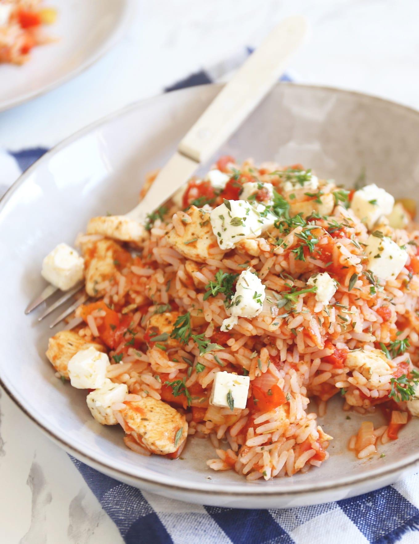 Gyrosschotel met rijst