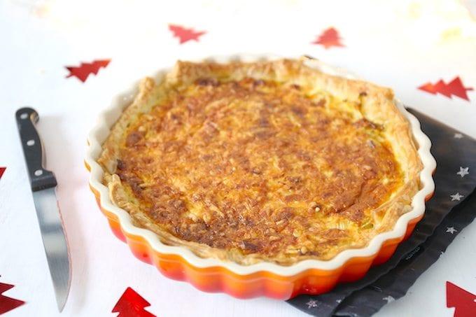 Hartige taart met prei en spek