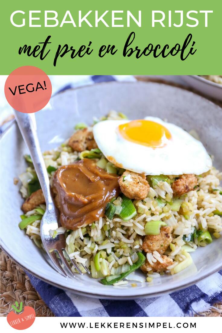 Gebakken rijst met broccoli en prei