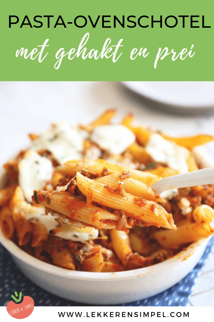 Pasta-ovenschotel met gehakt en prei