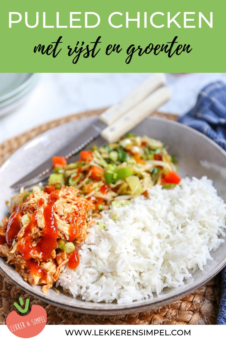 Pulled chicken met rijst