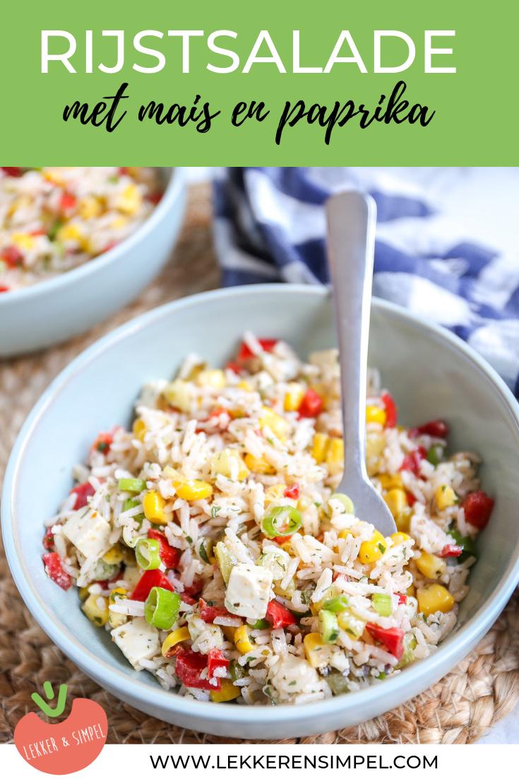 Rijstsalade met mais en paprika