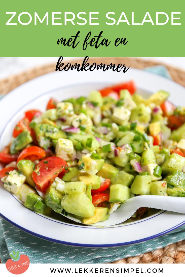 Zomerse salade met avocado en komkommer